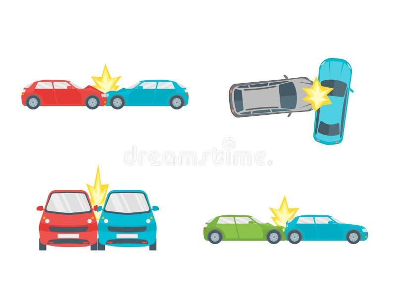 Karikatur-Autounfall-Verkehrsunfall-Satz Vektor Vektor Abbildung ...