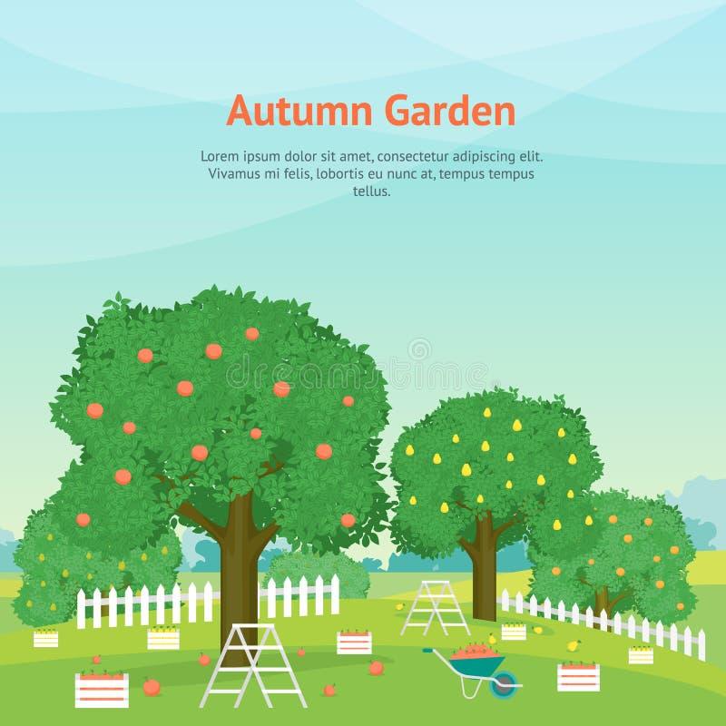 Karikatur Autumn Garden Card Poster Brochure für Anzeige Vektor stock abbildung