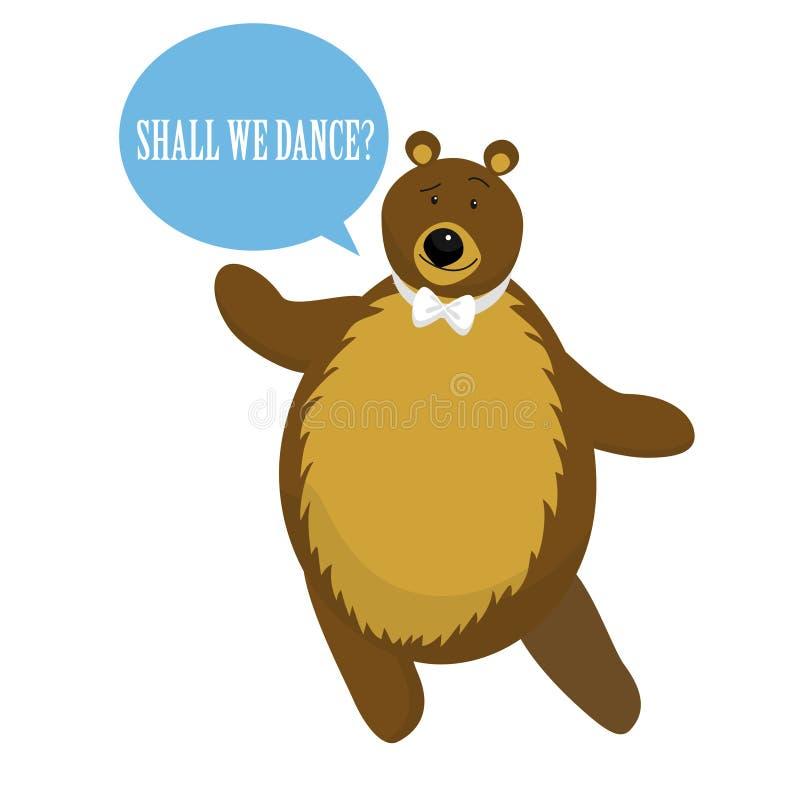Karikatur-Bärn-Tanz für Einladung oder Karte Vektor lizenzfreie abbildung