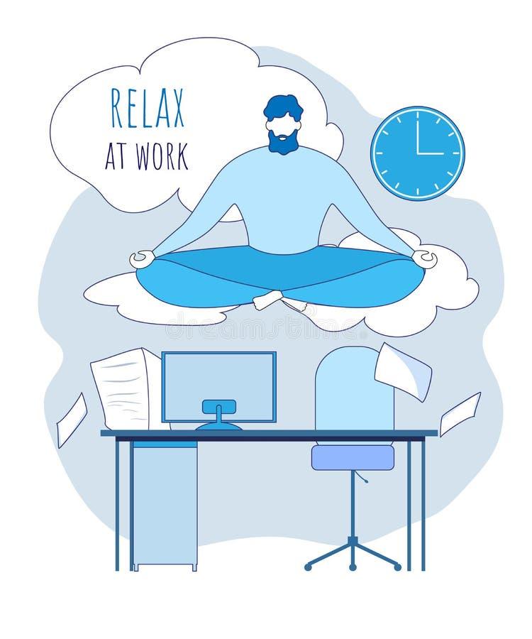Karikatur-Büroangestellter meditieren unter Arbeitsplatz stock abbildung