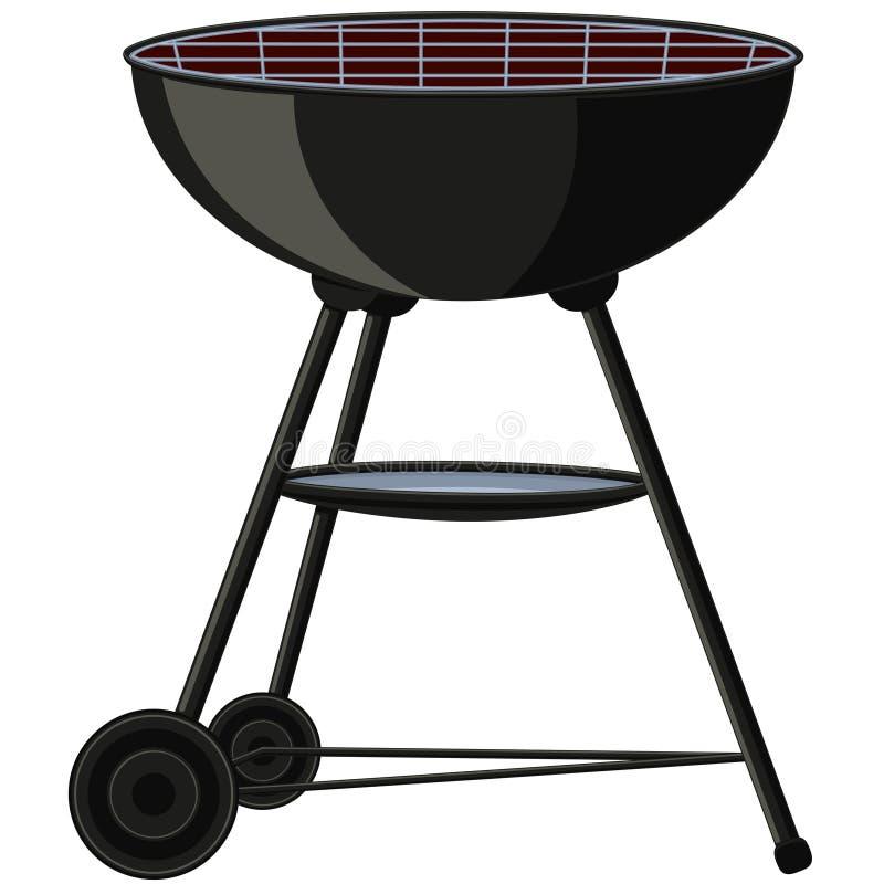Karikatur BBQ-Grill auf Rad vektor abbildung