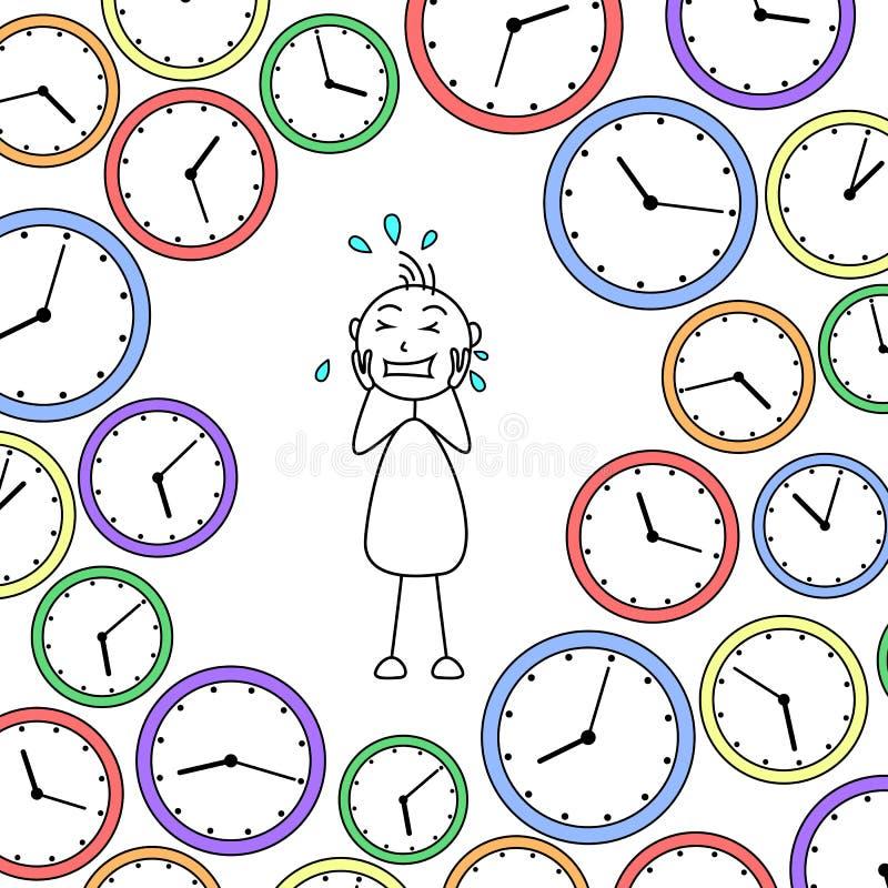 Karikatur betonte den Stockmann, der durch Uhren umgeben wurde lizenzfreie abbildung