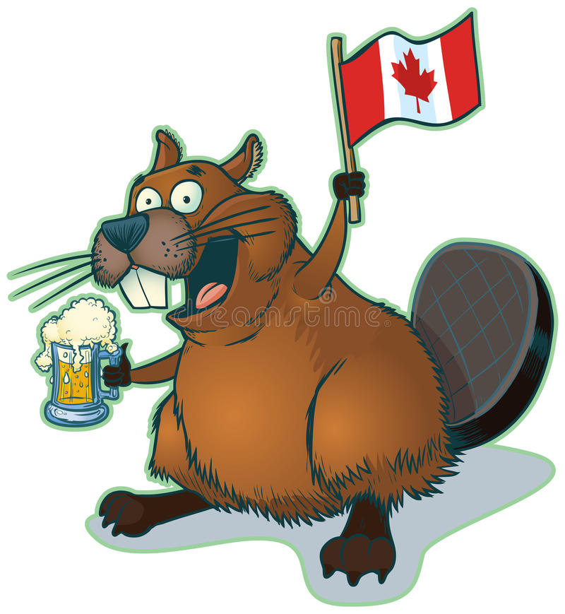 Karikatur-Biber mit Bier und kanadischer Flagge vektor abbildung