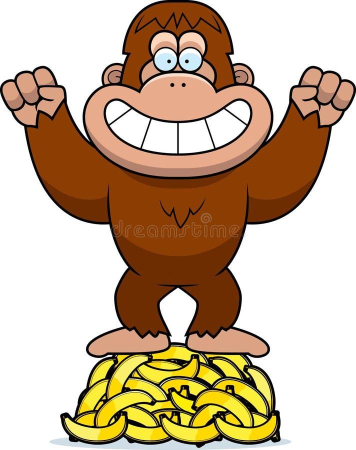 Karikatur-Bigfoot-Bananen vektor abbildung