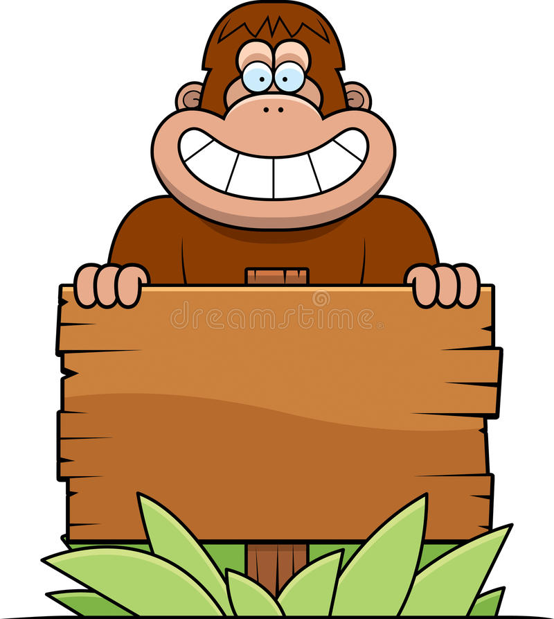 Karikatur-Bigfoot-Zeichen lizenzfreie abbildung
