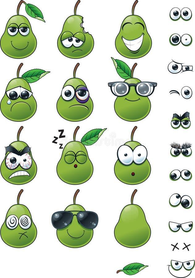 Karikatur-Birne Emoticon-Satz lizenzfreie stockfotografie