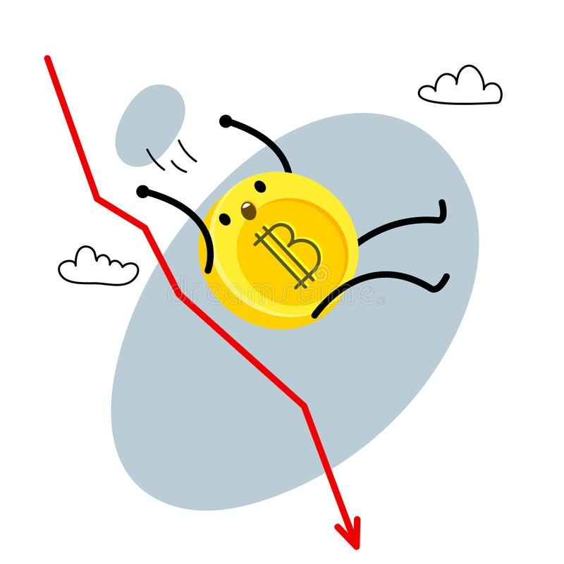 Karikatur bitcoin Charakter stock abbildung