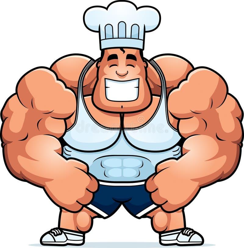 Karikatur-Bodybuilding-Chef lizenzfreie abbildung
