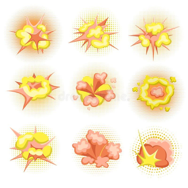Karikatur-Boom Satz Feuerbombenexplosionen in der komischen Art Vektor-Illustration, lokalisiert lizenzfreie abbildung