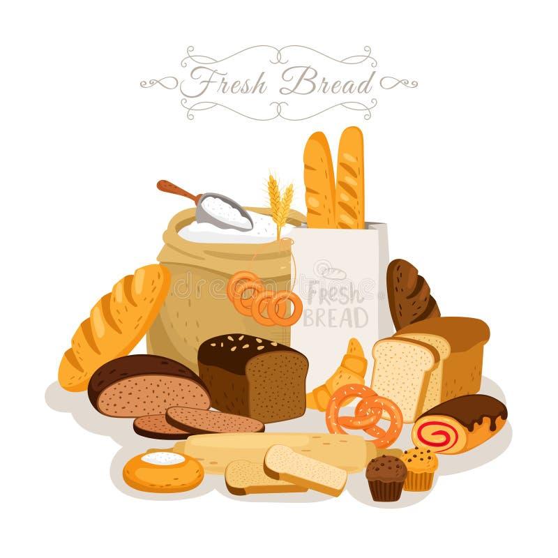 Karikatur, Brotmehl und Gebäck Französisches Stangenbrot- und Frühstückshörnchen, Bäckereiimbisse und Schokoladenkuchen, Gebäck lizenzfreie abbildung