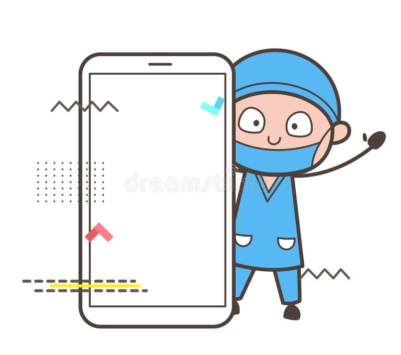 Karikatur-Chirurg mit Smartphone-Vektor-Illustration vektor abbildung