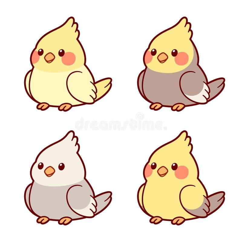 Karikatur Cockatiel-Farbveränderungen lizenzfreie abbildung