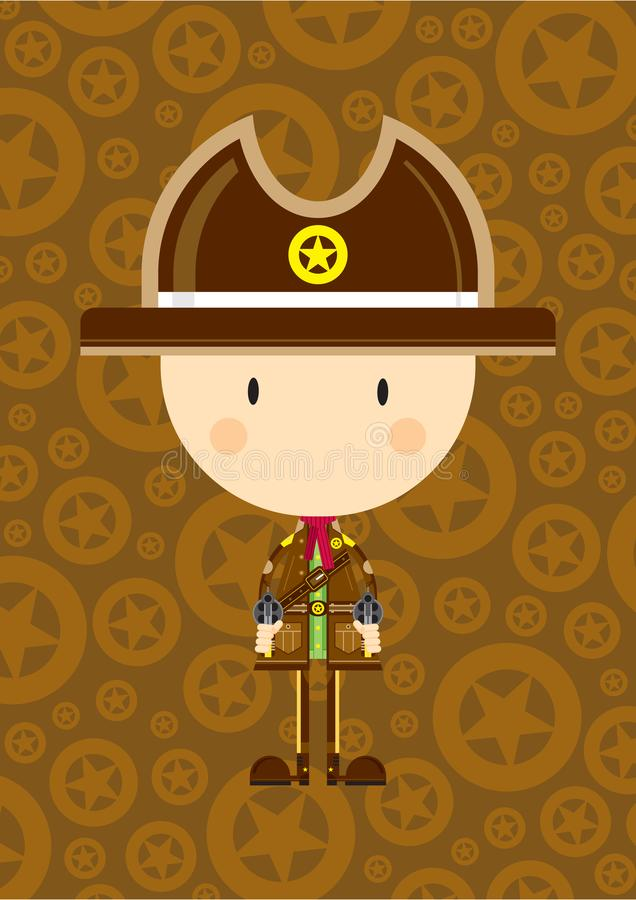 Karikatur-Cowboy Sheriff mit Gewehren lizenzfreie abbildung