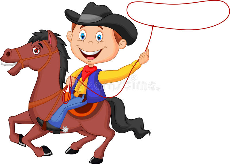 Karikatur-Cowboyreiter auf dem Pferdewerfenden Lasso vektor abbildung