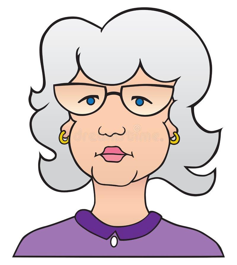 Karikatur-Dame mit Gray Hair vektor abbildung