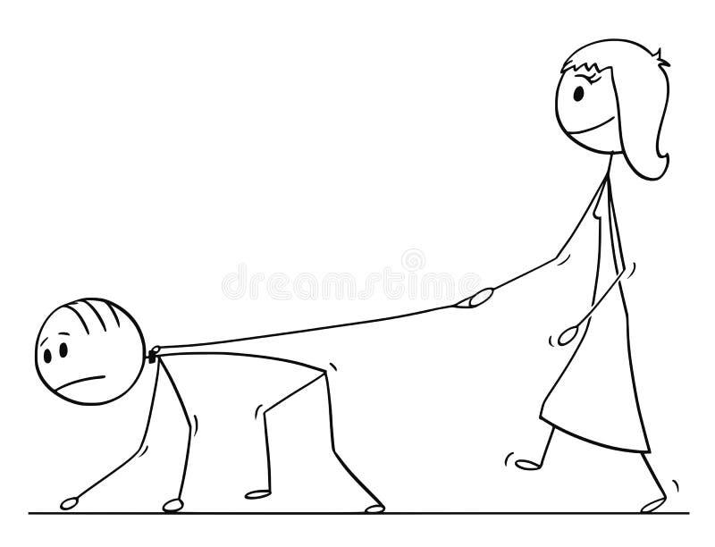 Karikatur der Frau gehend mit Mann auf einer Leine stock abbildung