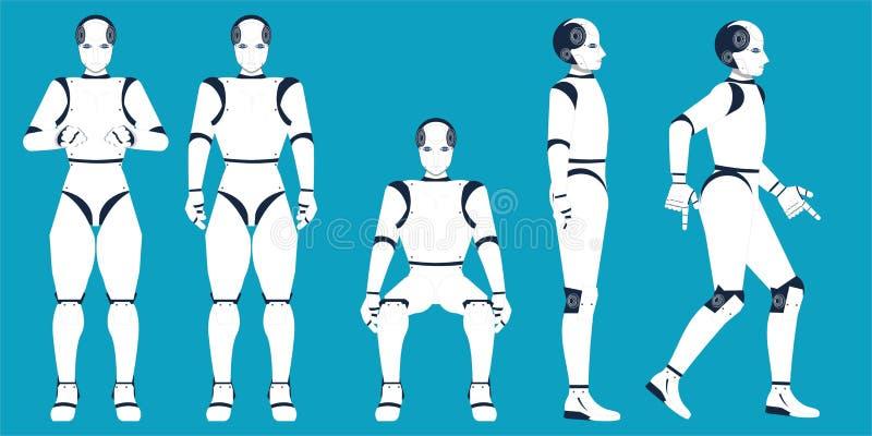 Karikatur der künstlichen Intelligenz auf blauem Hintergrund vektor abbildung