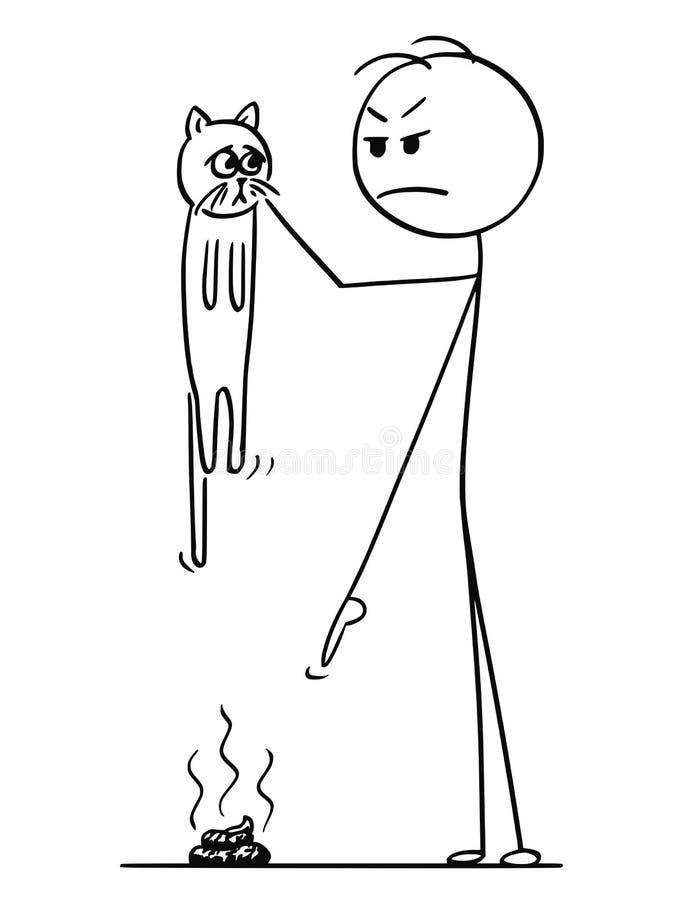 Karikatur der Mann-Holding-Katze und fingers auf Ausscheidung, Heck, Scheiße oder Schemel aus den Grund des zeigen lizenzfreie abbildung