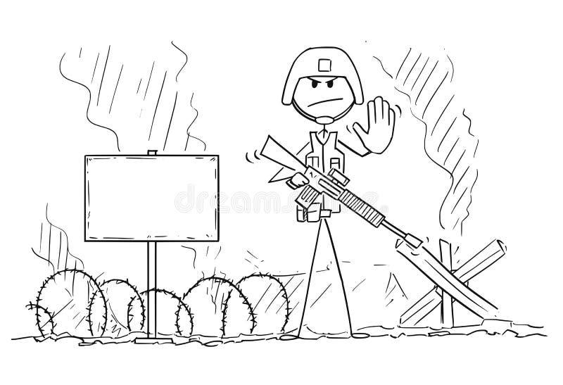 Karikatur der modernen Soldat-On Battlefield Showing-Endgeste lizenzfreie abbildung