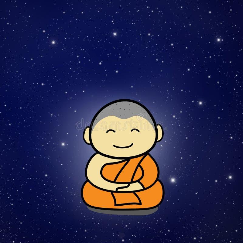 Karikatur des buddhistischen Mönchs lizenzfreie abbildung