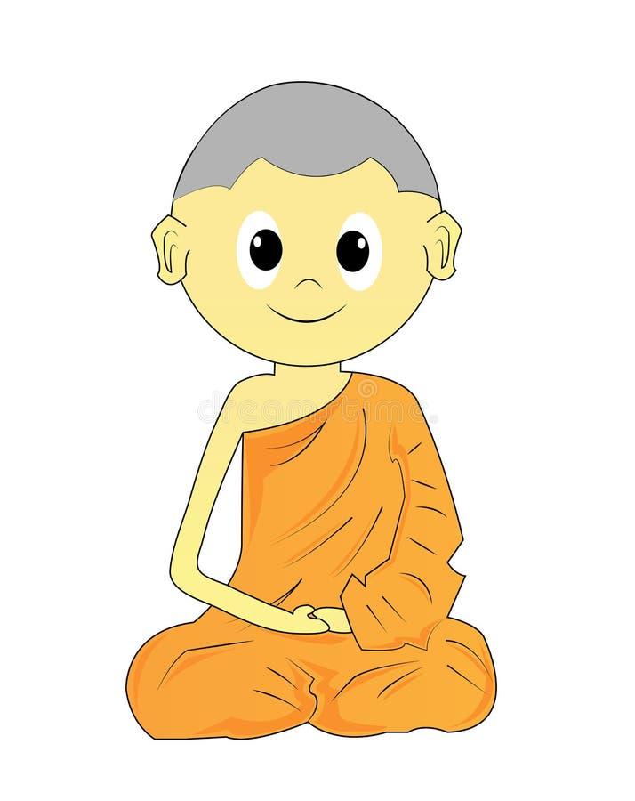 Karikatur des buddhistischen Mönchs stock abbildung