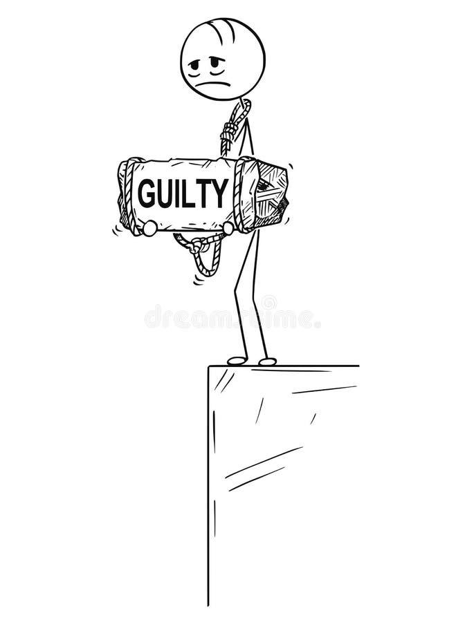 Karikatur des deprimierten Mannes stehend auf dem Rand halten Stein mit dem schuldigen Text gebunden an seinem Hals vektor abbildung