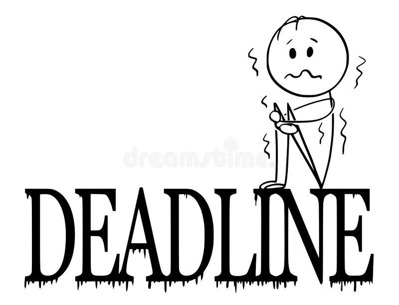 Karikatur des deprimierten und rüttelnden Mannes oder des Geschäftsmannes Sitting auf großen Fristen-Buchstaben stock abbildung