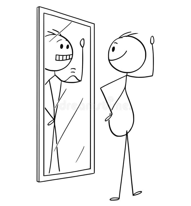 Karikatur des fetten beleibten überladenen Mannes, der im Spiegel betrachtet und sich dünn und in der besseren Form sieht vektor abbildung