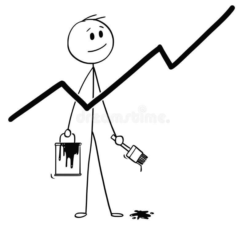 Karikatur des Geschäftsmannes With Brush und der Farbe kann malendes wachsendes Diagramm oder Diagramm lizenzfreie abbildung
