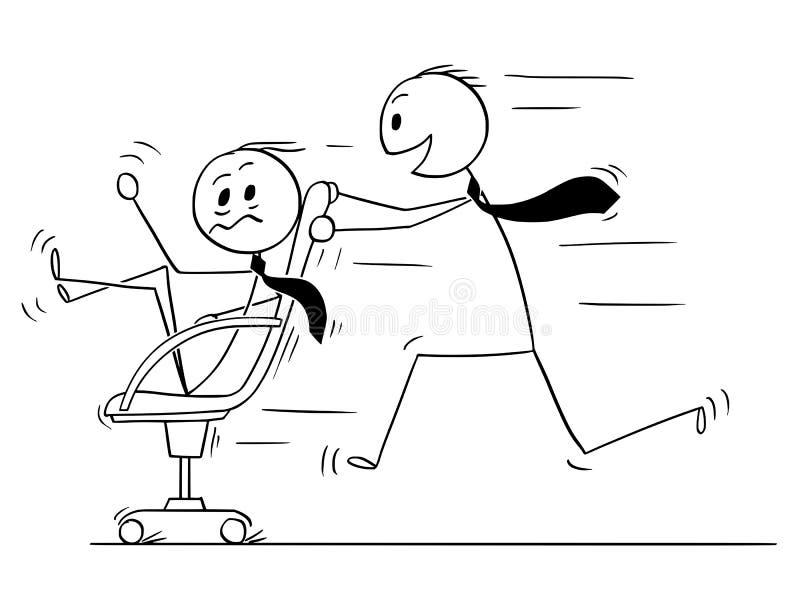 Karikatur des Geschäftsmannes Riding auf Stuhl Spaß im Büro genießend stock abbildung