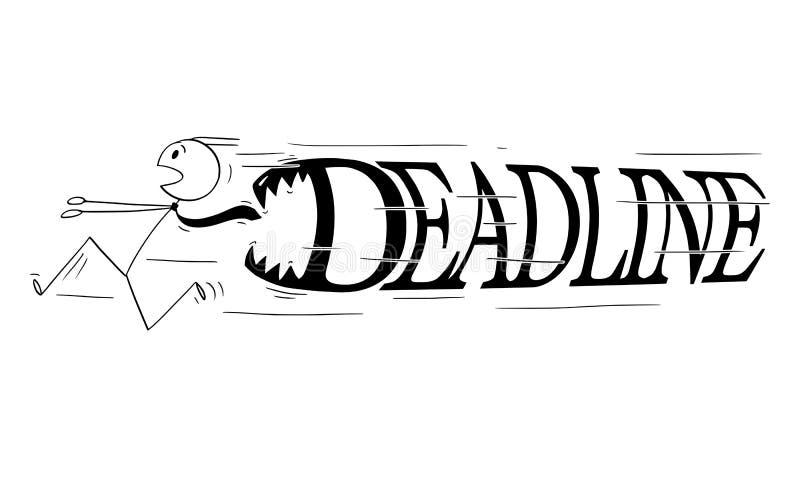 Karikatur des Geschäftsmannes Running in der Panik von den großen Fristen-Buchstaben mit den Zähnen, die ihn jagen stock abbildung