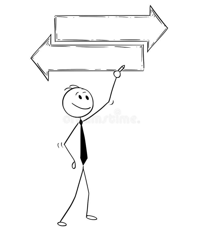 Karikatur des Geschäftsmannes Writing auf leerem leerem Text-Entscheidungs-Pfeil-Zeichen vektor abbildung