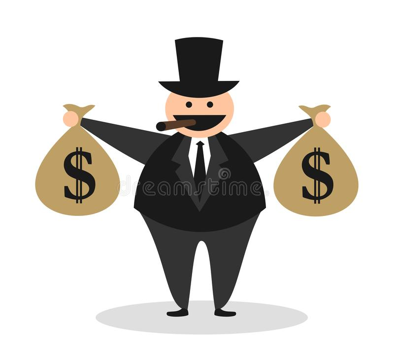 Karikatur des gierigen fetten hässlichen reichen Kapitalisten vektor abbildung