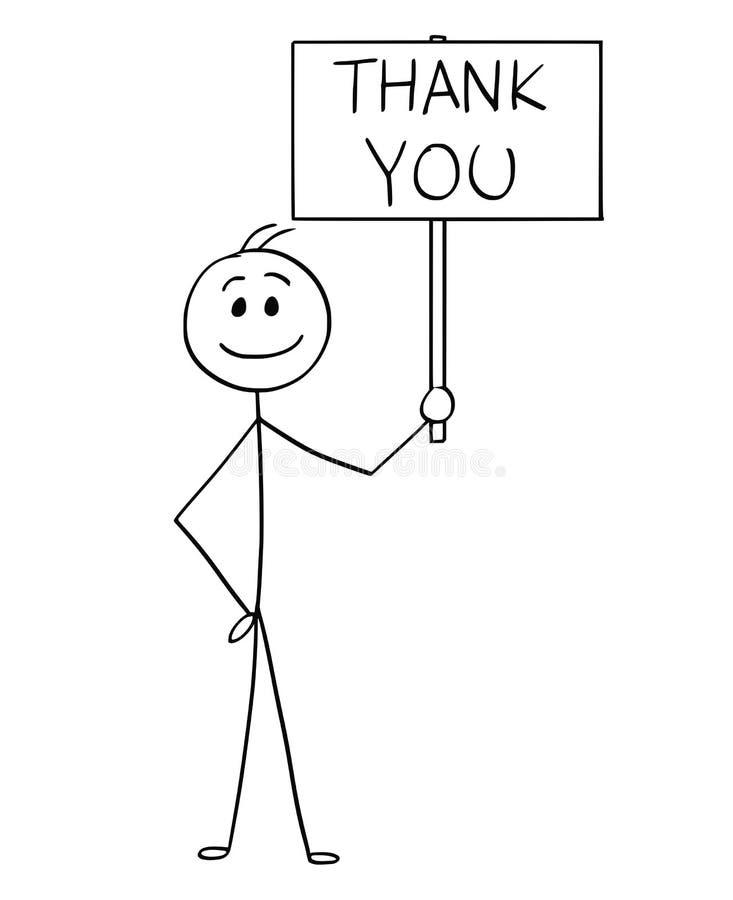Karikatur des glücklichen lächelnden Mannes oder Geschäftsmann Holding Sign mit danken Ihnen zu simsen lizenzfreie abbildung