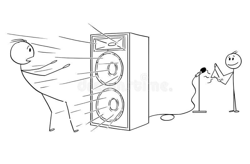 Karikatur des Jungen spielend auf Dreieck und lauten Ton durch Verstärker schaffend lizenzfreie abbildung
