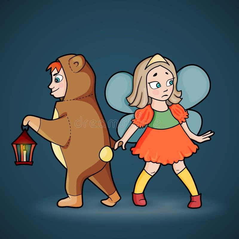 Karikatur des Jungen und des Mädchens in den Kostümen stock abbildung