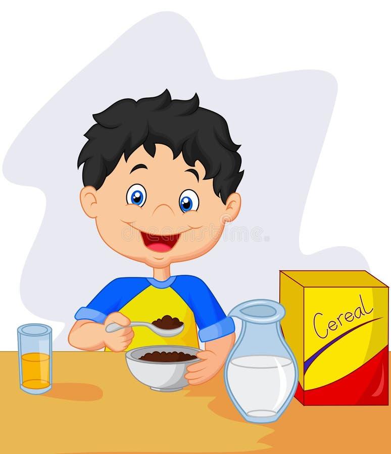 Karikatur des kleinen Jungen, die Frühstückskost aus Getreide mit Milch isst stock abbildung