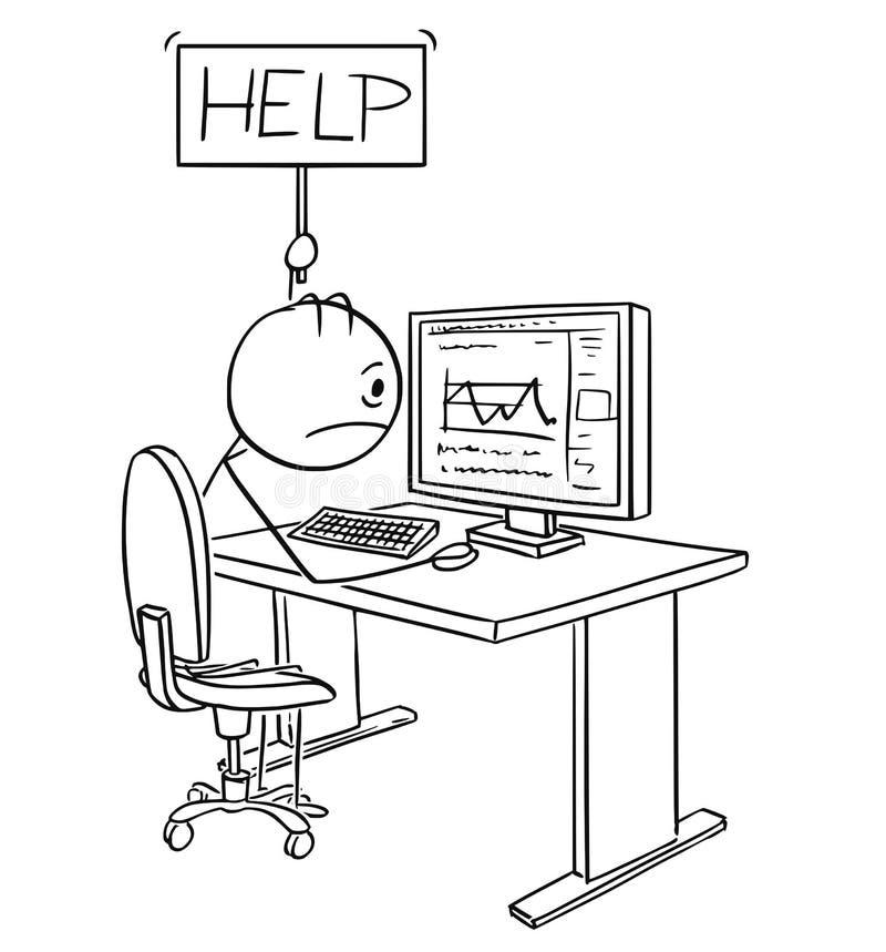Karikatur des müden oder betonten Mannes oder des Geschäftsmannes Working auf Computer-Holding-Hilfszeichen stock abbildung
