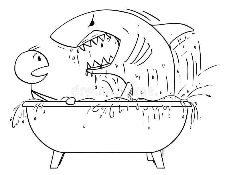 Karikatur des Mannes in Angriff genommen durch Haifisch in seinem Badezimmer-Bad lizenzfreie abbildung
