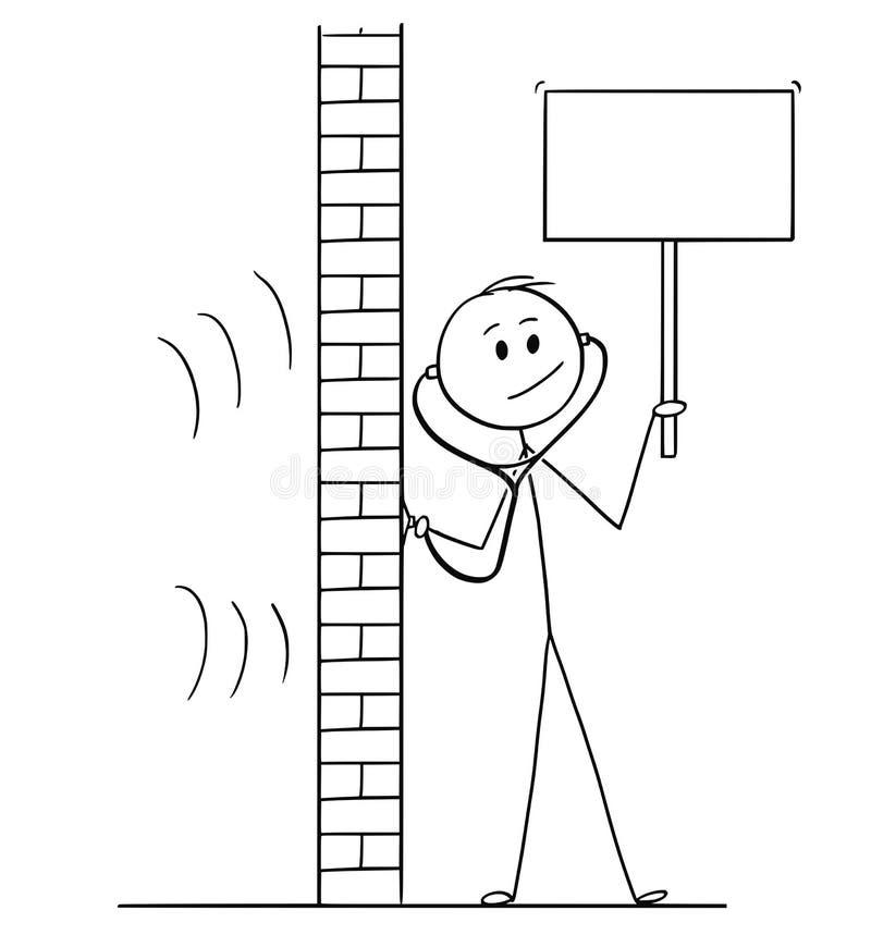 Karikatur des Mannes, der Stethoskop verwenden oder des Phonendoscope zum Spion und leeres Zeichen, das halten lizenzfreie abbildung