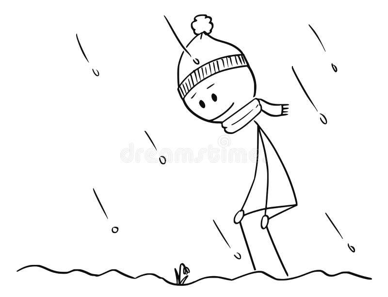 Karikatur des Mannes, die erste Frühlings-Schneeglöckchen-Blume im Schnee fand vektor abbildung