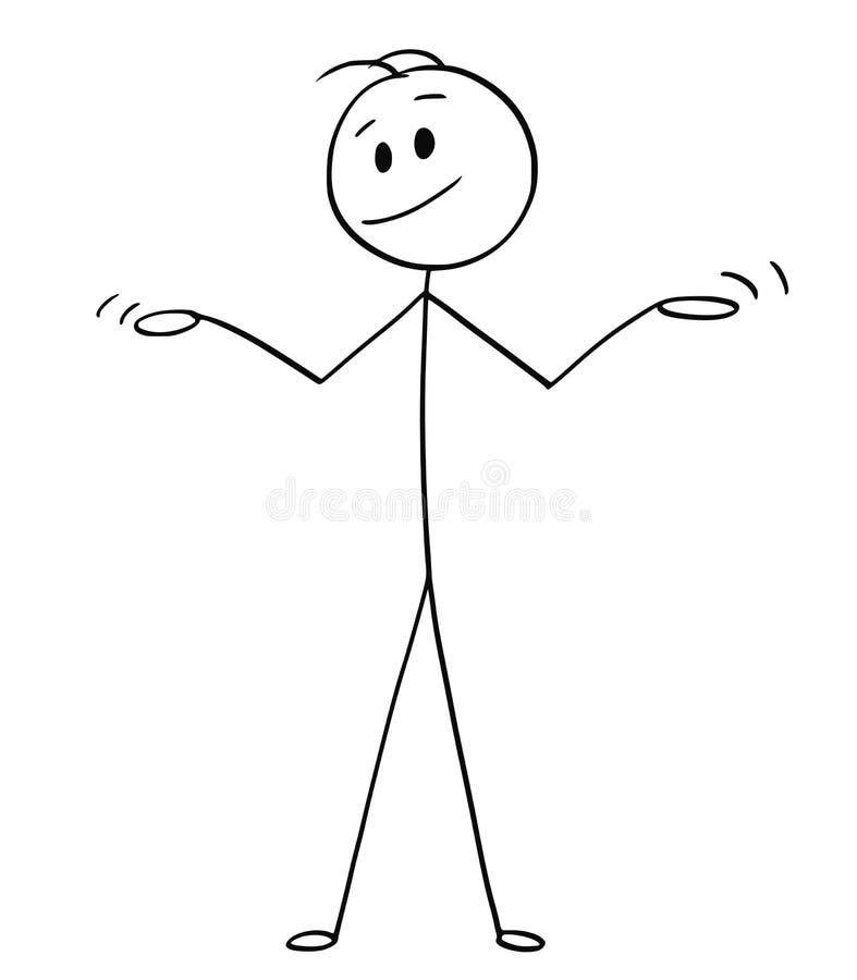Karikatur des Mannes oder Geschäftsmann Spreading oder öffnen seine Arme in der Unschuld oder in der Uncomprehending Geste stock abbildung