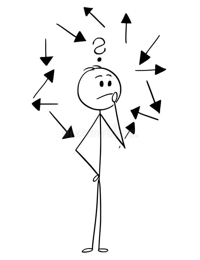 Karikatur des Mannes oder des Geschäftsmannes Choosing Right Direction lizenzfreie abbildung