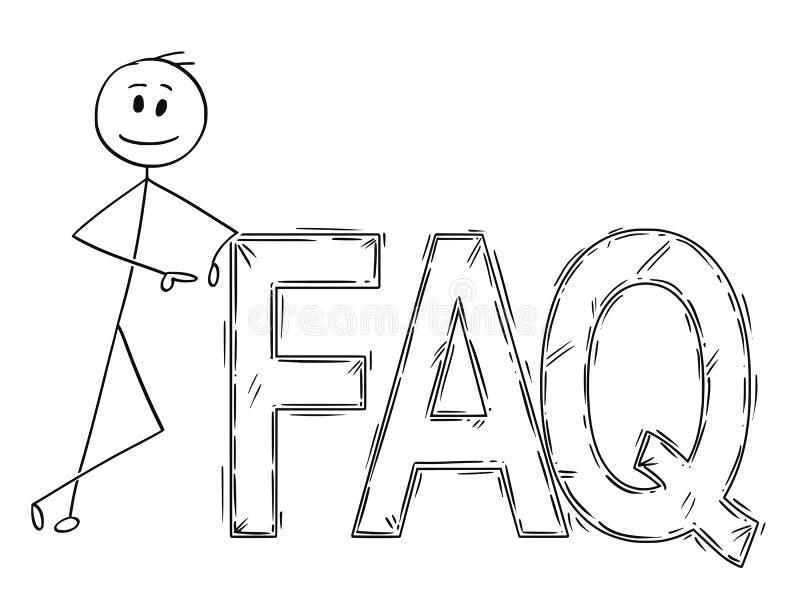 Karikatur des Mannes oder des Geschäftsmannes, die auf großem FAQ-Zeichen-Text sich lehnen vektor abbildung