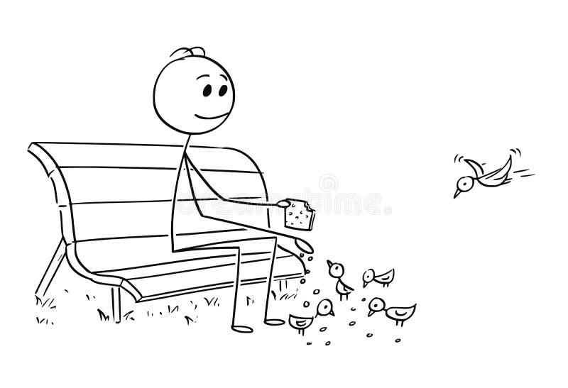 Karikatur des Mannes oder des Geschäftsmannes Relaxing auf Park-Bank und Fütterungsvögeln stock abbildung