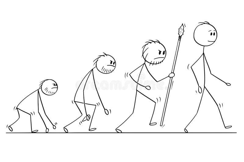 Karikatur des menschliche Entwicklungs-Prozess-Fortschritts lizenzfreie abbildung