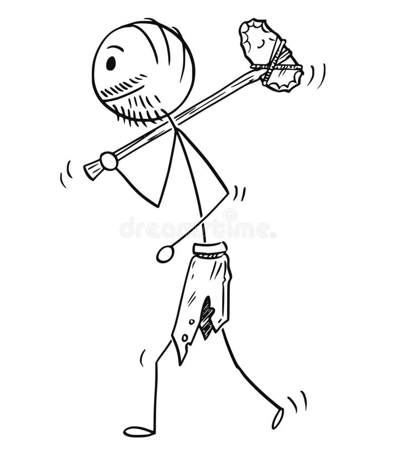 Karikatur des prähistorischen Mannes oder des Höhlenbewohners, die mit Steinaxt gehen lizenzfreie abbildung