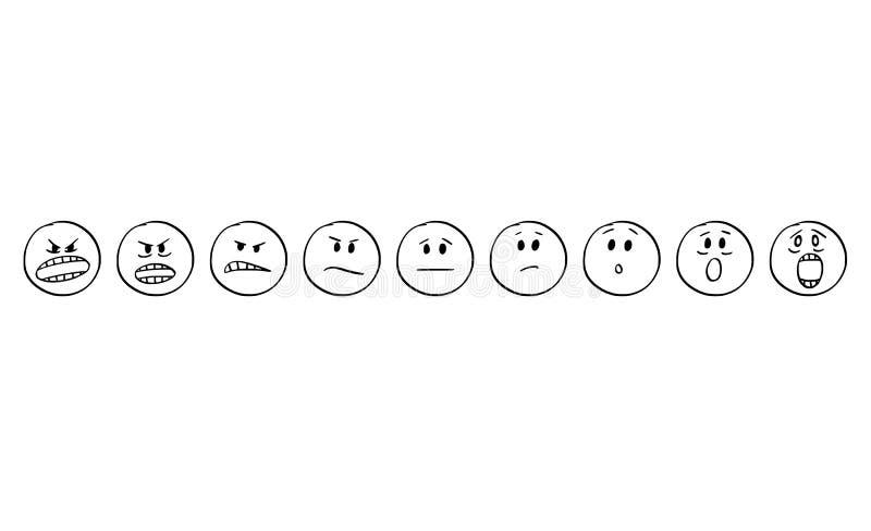 Karikatur des Satzes Smiley Faces Showing Emotions From-Angriffs zu erschrecken oder sich zu fürchten lizenzfreie abbildung