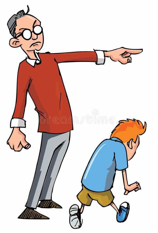Karikatur des Vatis seinen Sohn scheltend stock abbildung