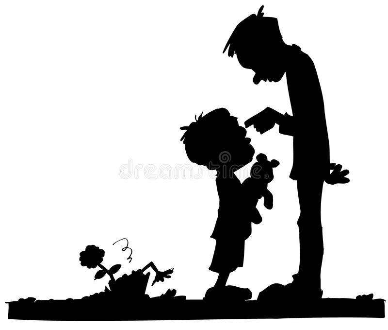 Karikatur des Vatis seinen Sohn scheltend lizenzfreie abbildung